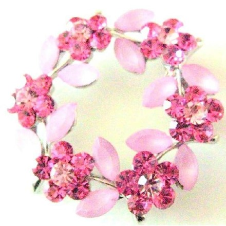 Pink Rose Crystals Flower Round Flower Crystals Sophisticated Brooch/Pin