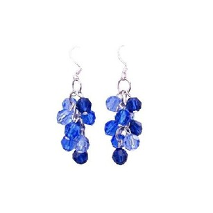 Sapphire Crystals Jewelry Light & Dark Tricolor Grape Bunch Earrings