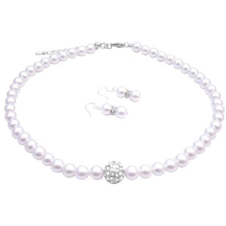 White Shopping Bridesmaid Pearls Sparkling Pave Ball Pendant Necklace Jewelry Set