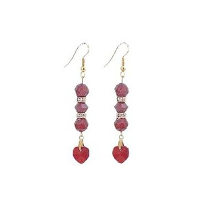 Red Siam Crystal with Heart Dangling Romantic Golden Hook Rondells Earrings