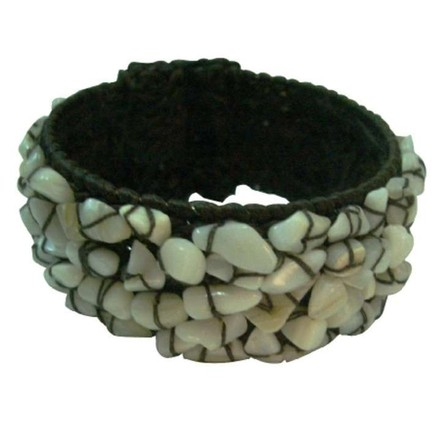 White Smart Gift Wax Chord / Natural Nuggets Bracelet