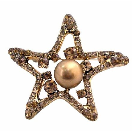Bronze/Brown Smoked Topaz Golden Starfish 12mm Copper Pearls Vintage /Pin