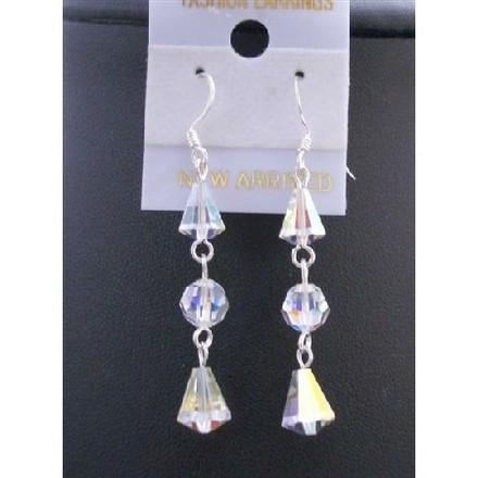Swarovski Ab Crystal Round & Cap Beads Genuine Beads Crystals Earrings W/ Sterling Silver 92.5