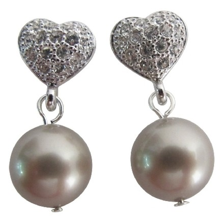 Platinum/Latte Timeless Pearl Holiday Gift Earrings