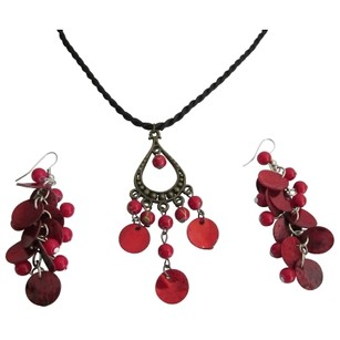 Multicolor Unique Gifts Just Red Shell Pendant Earrings Affordable Jewelry Set