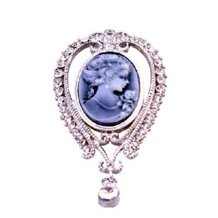 Gray Victorian Lady Holding Flower Cameo Lady Pendant Brooch/Pin