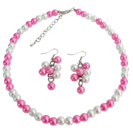 White & Hot Pink Cluster Cluster Earrings Jewelry Set