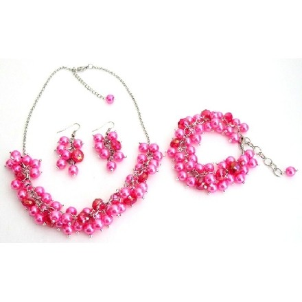 Hot Pink Pearl Necklace Beaded Chunky Pearls Glamorous Gift Jewelry Set
