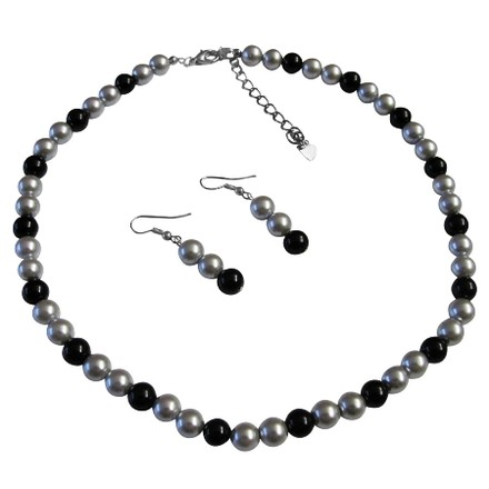 Black/Gray You Will Look Great In Our Pearl Available Special Silver Dress Jewelry Set