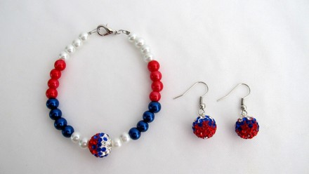 Fashion Jewelry For Everyone Day 4th Of July Patriotic Bracelet Military Mom Jewelry Red White Blue And Pave Ball