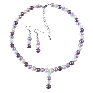 Fashion Jewelry For Everyone Drop Down Prom Necklace Set Purple Lilac & White Pearls Necklace Set