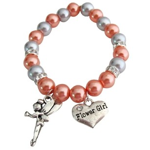 Fashion Jewelry For Everyone Flower Girl Charm Wedding Gift Bracelet Orange Gray Pearls