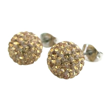 Fashion Jewelry For Everyone Light Colorado 9mm Pave Ball Stud Earrings