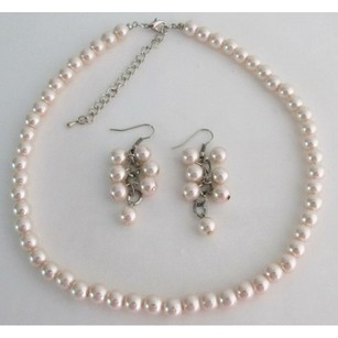 Fashion Jewelry For Everyone Light Pink Pearl Necklace And Earring Cluster Bridesmaid Gift