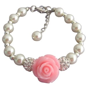 Fashion Jewelry For Everyone Pink Rose Flower Bracelet Ivory Pearl Paveball Bracelet