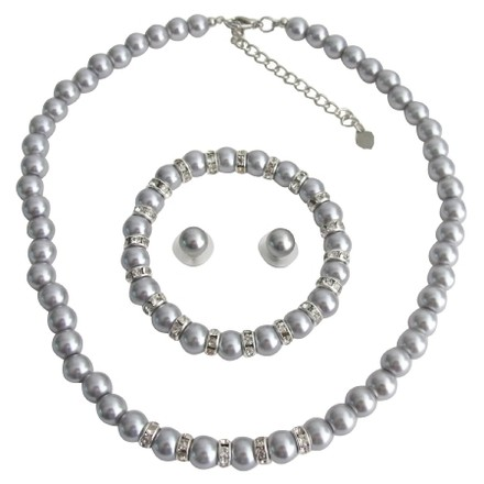Fashion Jewelry For Everyone Silver Pearl Wedding Jewelry Necklace Stud Earrings Stretchable Bracelet