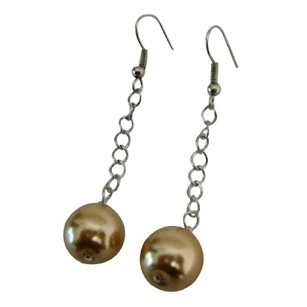 Fashion Jewelry For Everyone Single Pearls Champagne Color Dangling Earrings