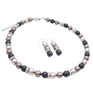 Fashion Jewelry For Everyone Spectacular Swarovski Pearls Trio Brown Black & Bronze Jewelry Set