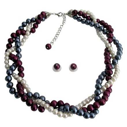 Fashion Jewelry For Everyone Twisted Statement Necklace Gray Ivory Purple Pearls Wedding Bridesmaid Necklace Set