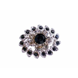 Fashion Jewelry For Everyone Vintage Black Diamond & Jet Crystal Silver Casting Multipurpose Brooch