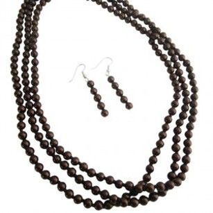 Three Stranded Brown Pearls Necklace Affordable Wedding Jewelry Set