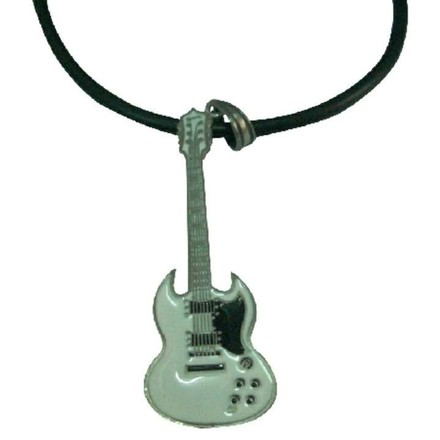 White Hiphop Guitar Pendant Necklace School Music Function Jewelry Set