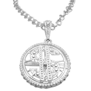Silver Spinning Dollar Pendant Men Bling Bling 28 Inches Necklace Jewelry Set
