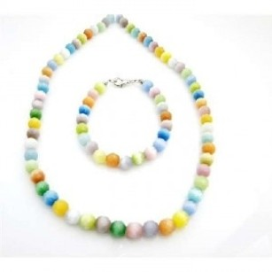 8mm Multifaceted Multicolor Cat Eye Glass Beads Necklace Bracelet Set