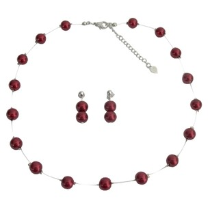 Red Perfect Apple Pearls Floating Illusion Necklace Post Earrings Jewelry Set
