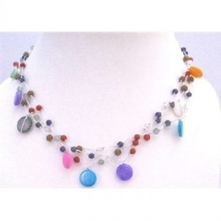 N311 Fancy Multi Beads Multi Shell Summer Three Stranded Choker Necklace