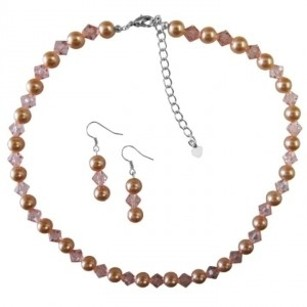 Peach Pearls & Chinese Orange Crystals Necklace Set Pearls