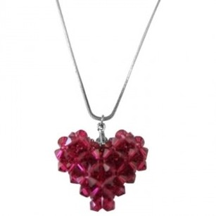 Red Swarovski Dark Crystal 3d Puffy Handcrafted Heart Pendant Neckalce Jewelry Set