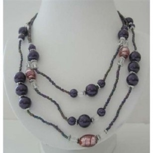 Three Stranded Beaded Necklace Purple Pearls Millefiori Painted Beads