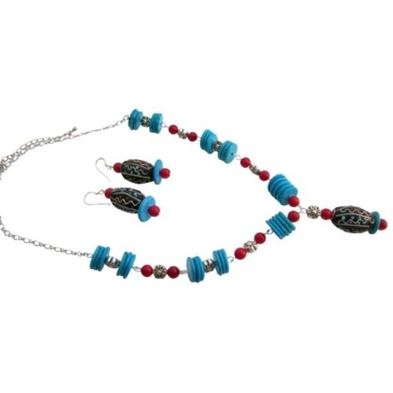 Turquoise Rings Coral Handmade Gift Creative Jewelry Set