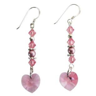 Pink Valentine Gift Love Rose Crystals Heart Earrings Jewelry Set