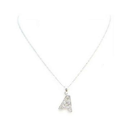 Fashion Jewelry For Everyone Silver Alphabet Letter A Fully Embedded W/ Cubic Zircon Pendant Necklace