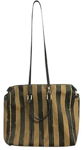 Fendi Fabric Striped Pequin Spacious B3165 Tote in Brown