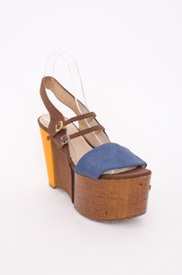 Fendi Brown Blue Yellow Coated Cork Strappy Cut Out Wedge Multi-Color Platforms
