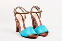 Fendi Turquoise Leather Turquoise, Brown Sandals