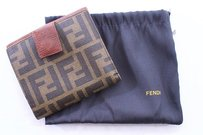 Fendi Cognac Canvas Leather Bifold Snap 10x Credit Card Wallet Italy
