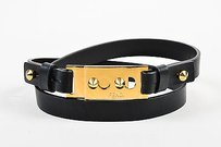 Fendi Fendi Black Gold Tone Leather Spike Stud Buckle Skinny Belt 85