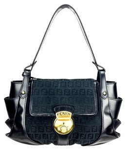 Fendi Leather Canvas Zucca Shoulder Bag