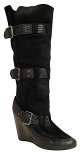 Fendi Shearling Wedge Tall Buckles Stacked Heels Black Boots