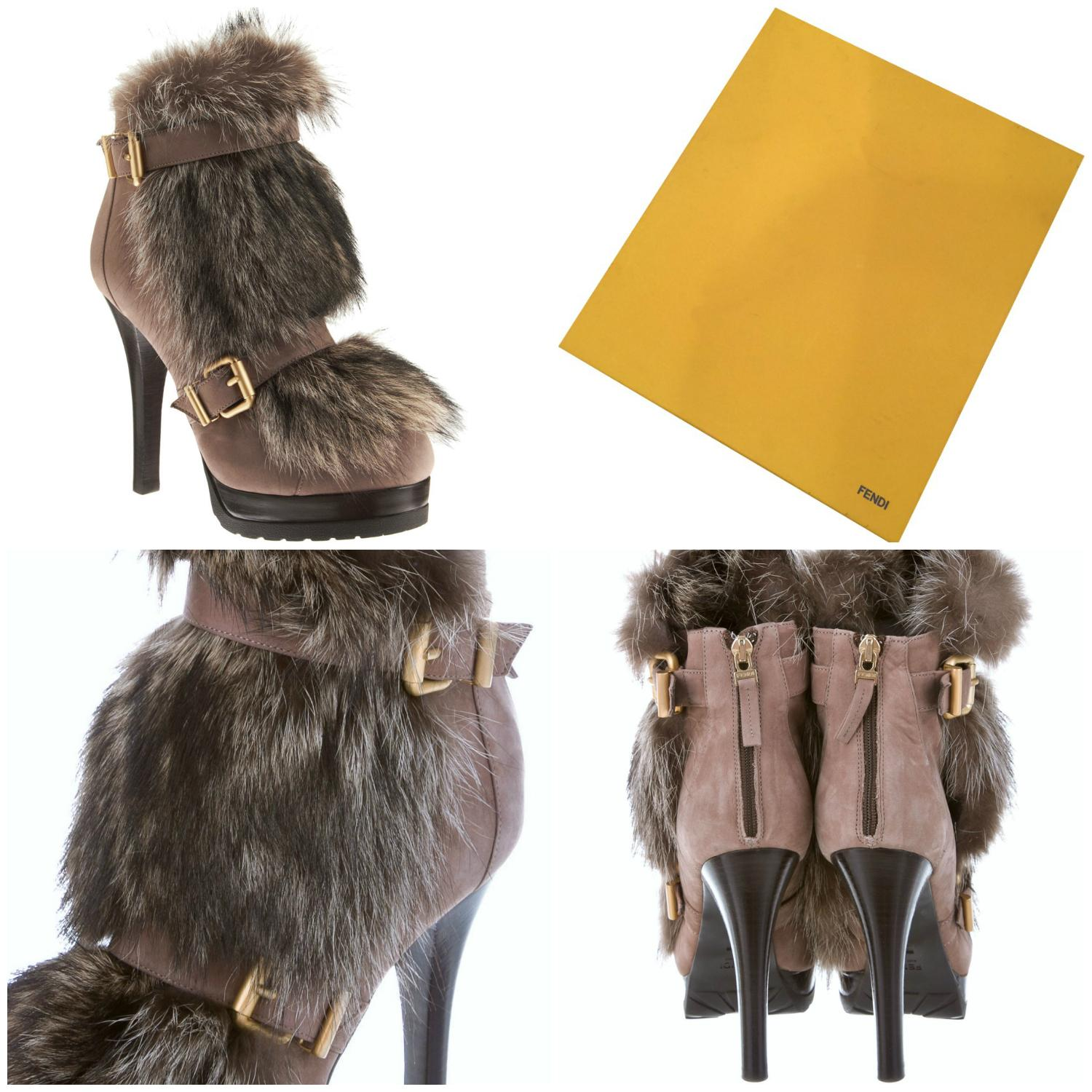 69db858917c Fendi New New New W  Box  quot Winter Tale quot  Beaver Fur Platform ...
