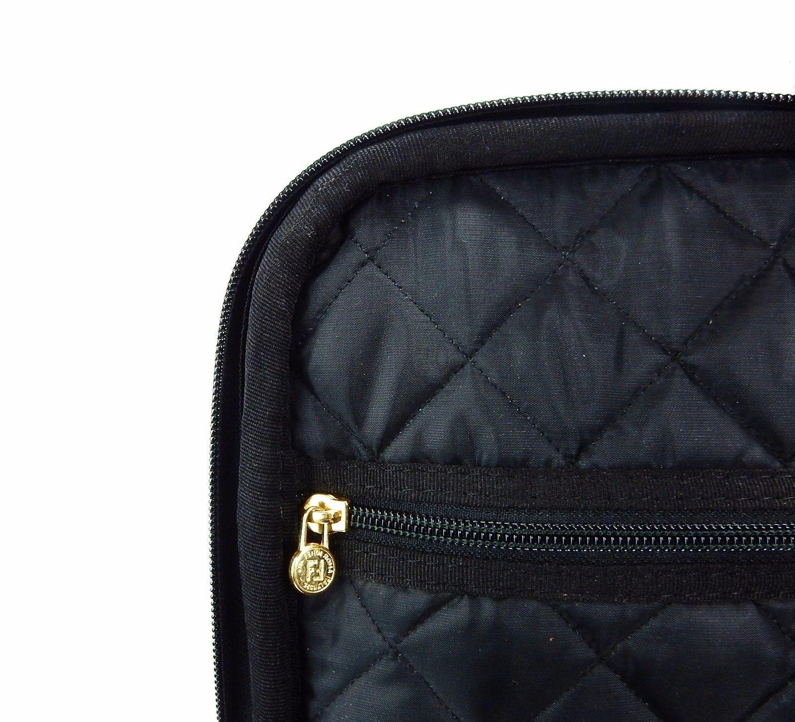 f02b70510f92 ... coupon fendi rare full size rolling suitcase luggage w lock id tag black  canvas weekend travel ...