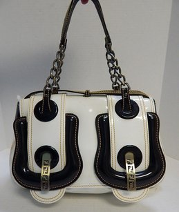 Fendi B Patent Leather Italy Satchel in Ivory