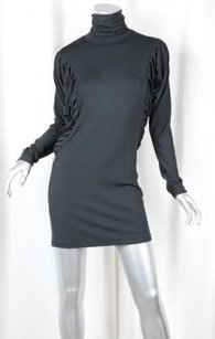 Fendi short dress Gray Womens Charcoal Knit Pleated Turtleneck Shift 382 on Tradesy