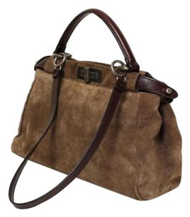 Fendi Peekaboo Suede Brown Satchel Handbag Shoulder Bag