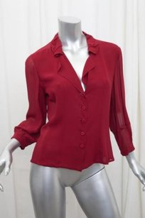 Fendi Womens Silk Chiffon Top Red