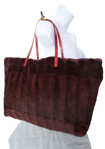Fendi Silk Interior Tote in Burgundy and RED